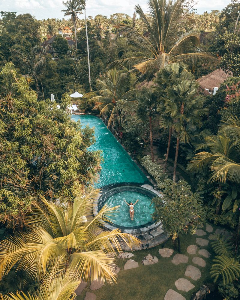 Drone shot of a pool at one of the best hotels in Bali