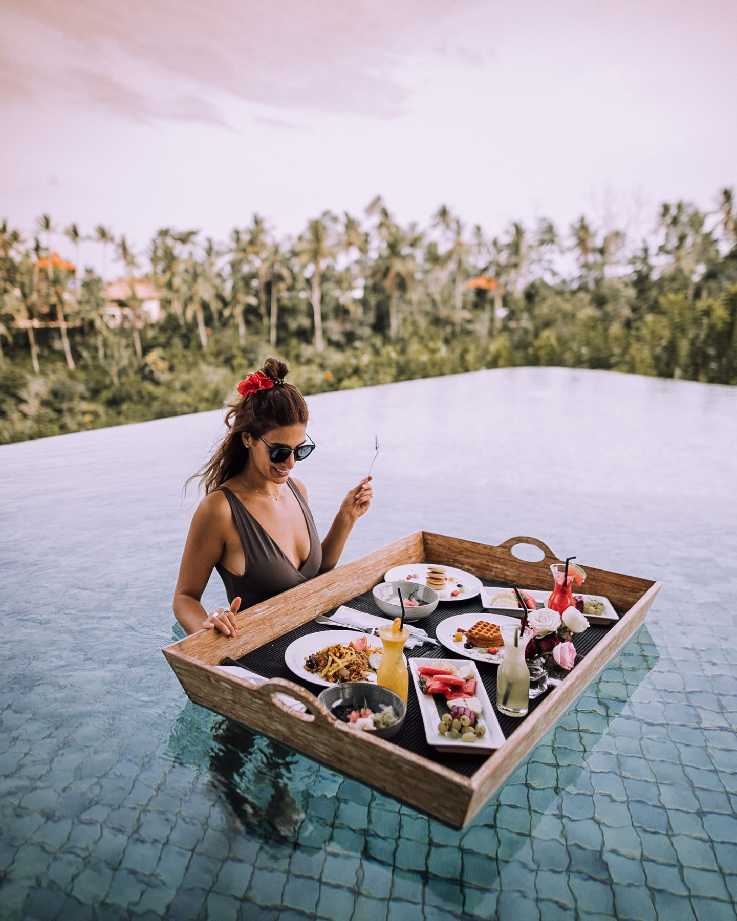 Lisa Homsy enjoying a floating breakfast in Bali