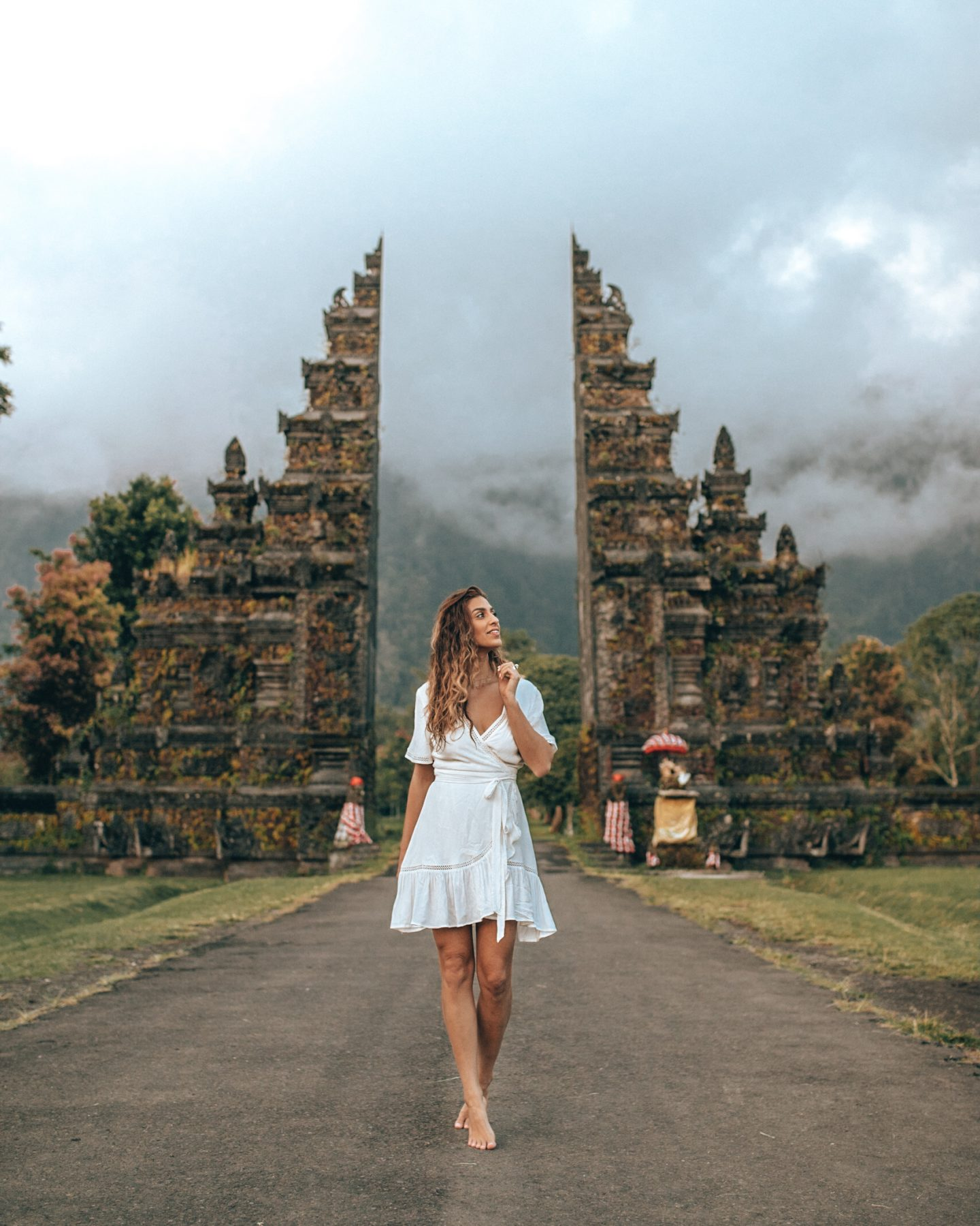 Lisa Homsy at the gates in Bali