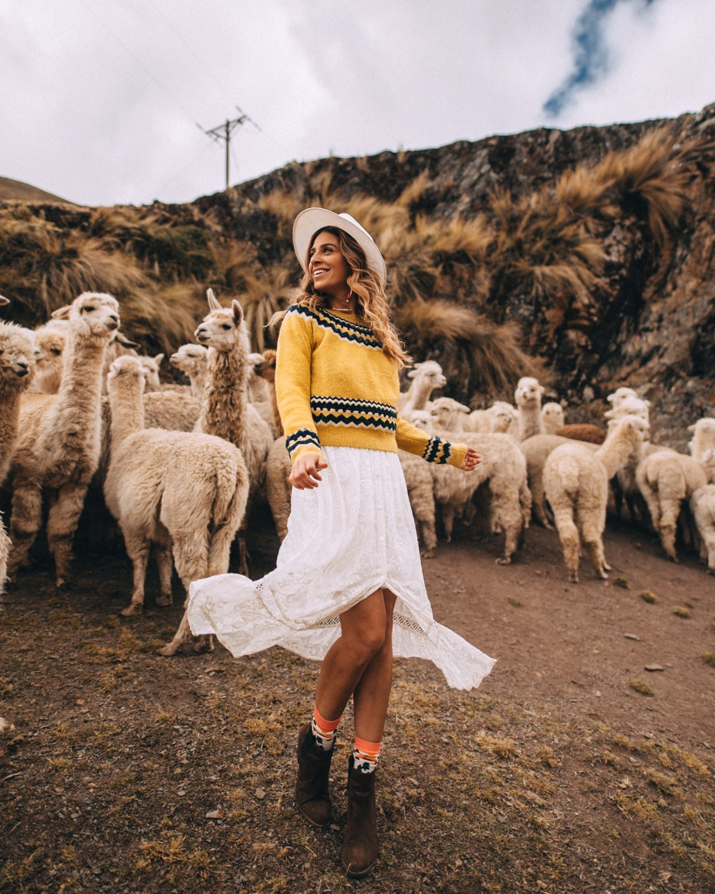 Girl with llamas