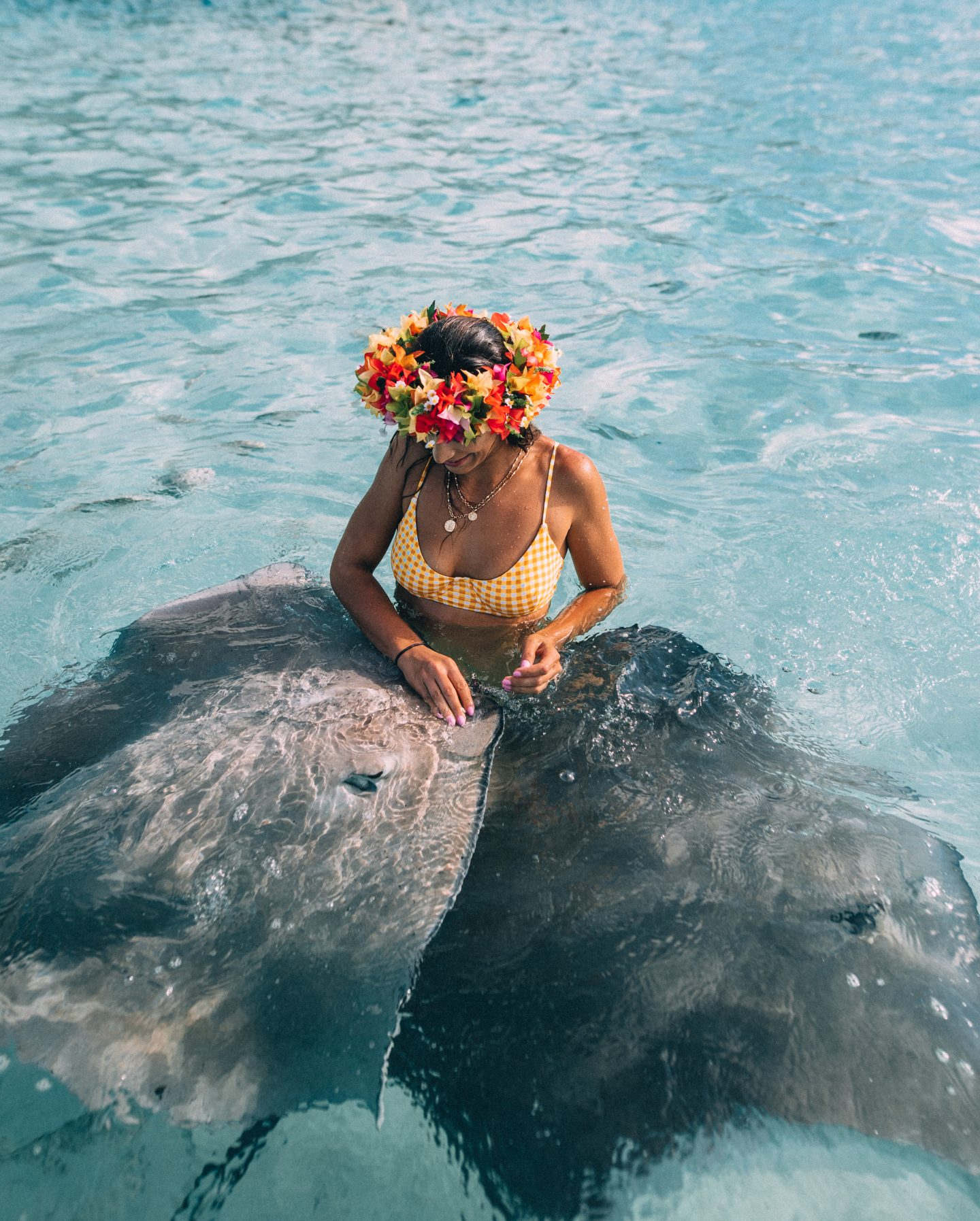 Swimming with the sting rays in Tahiti