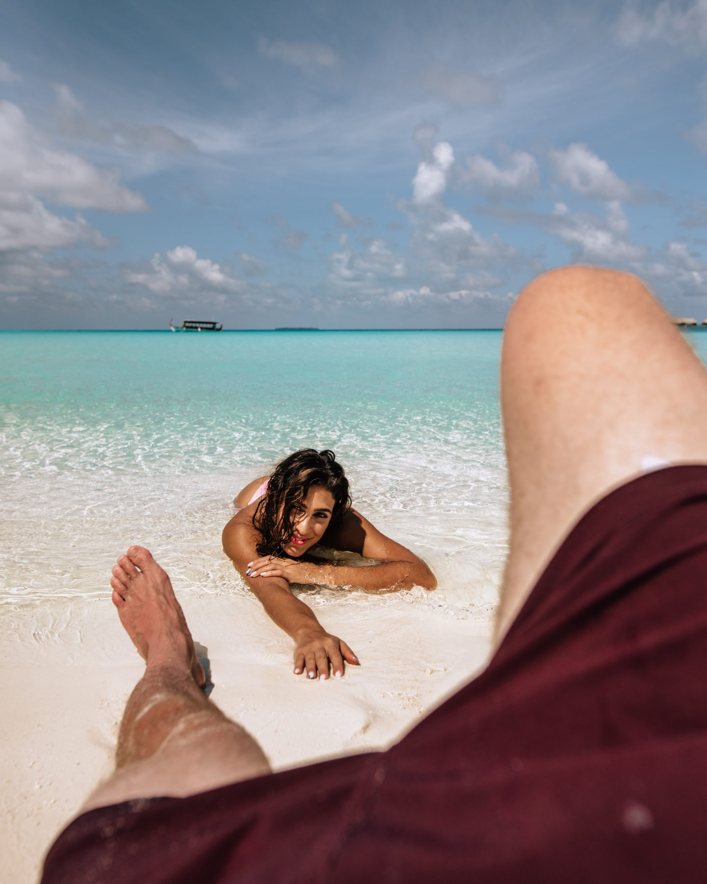 A couple at Conrad Rangali Island in the Maldives