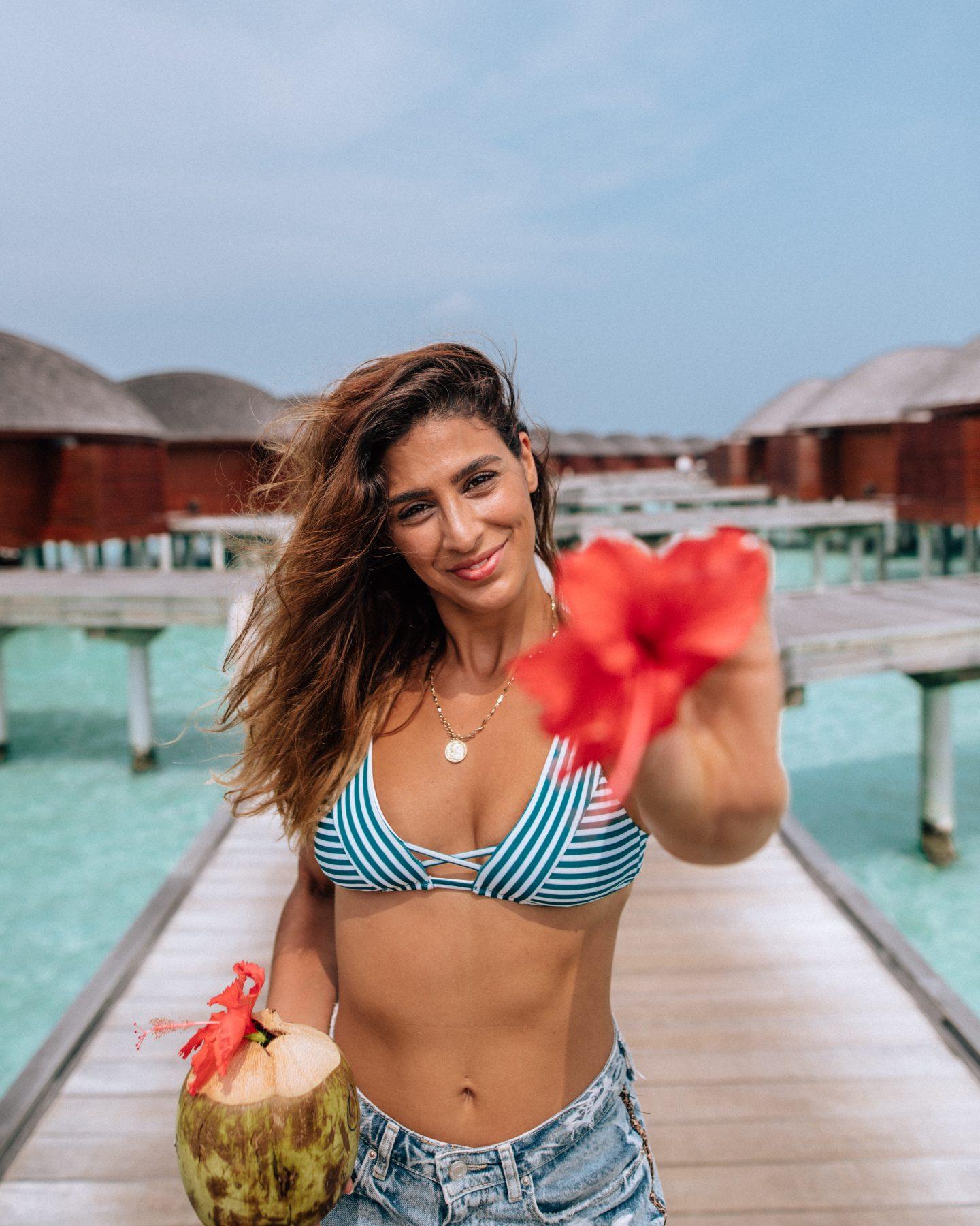 Woman at Anantara Dhigu resort in the maldives