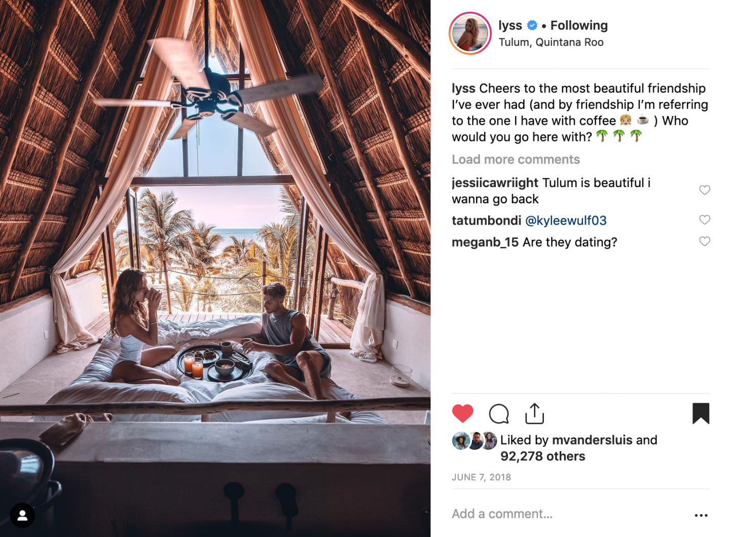 A couple eating breakfast in bed at La Valise hotel in Tulum Mexico