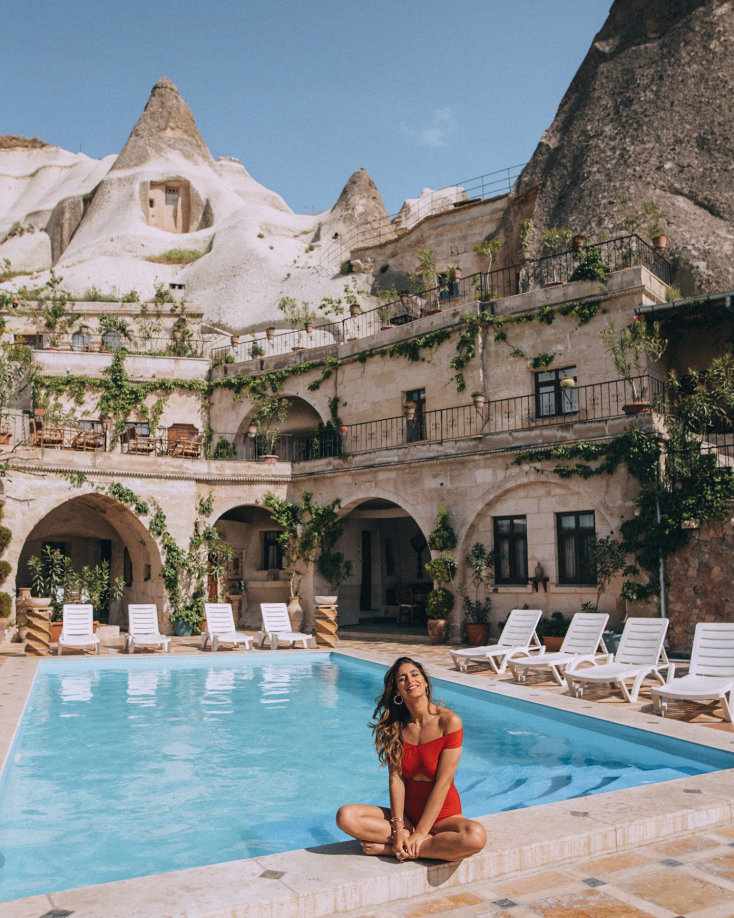 Local Cave House hotel pool in Cappadocia
