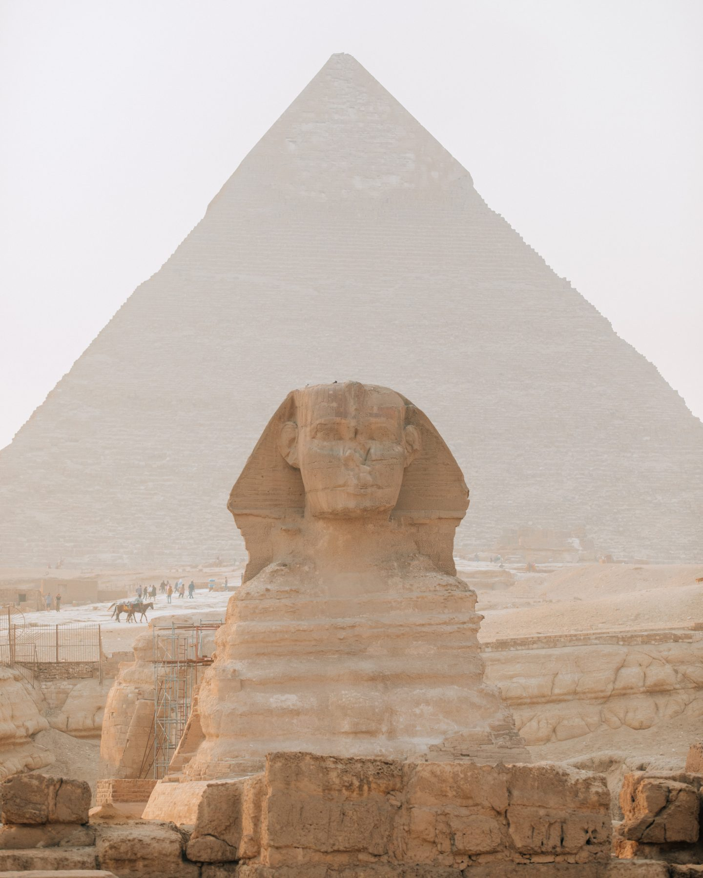 The Sphinx in front of the Great Pyramid in Egypt.