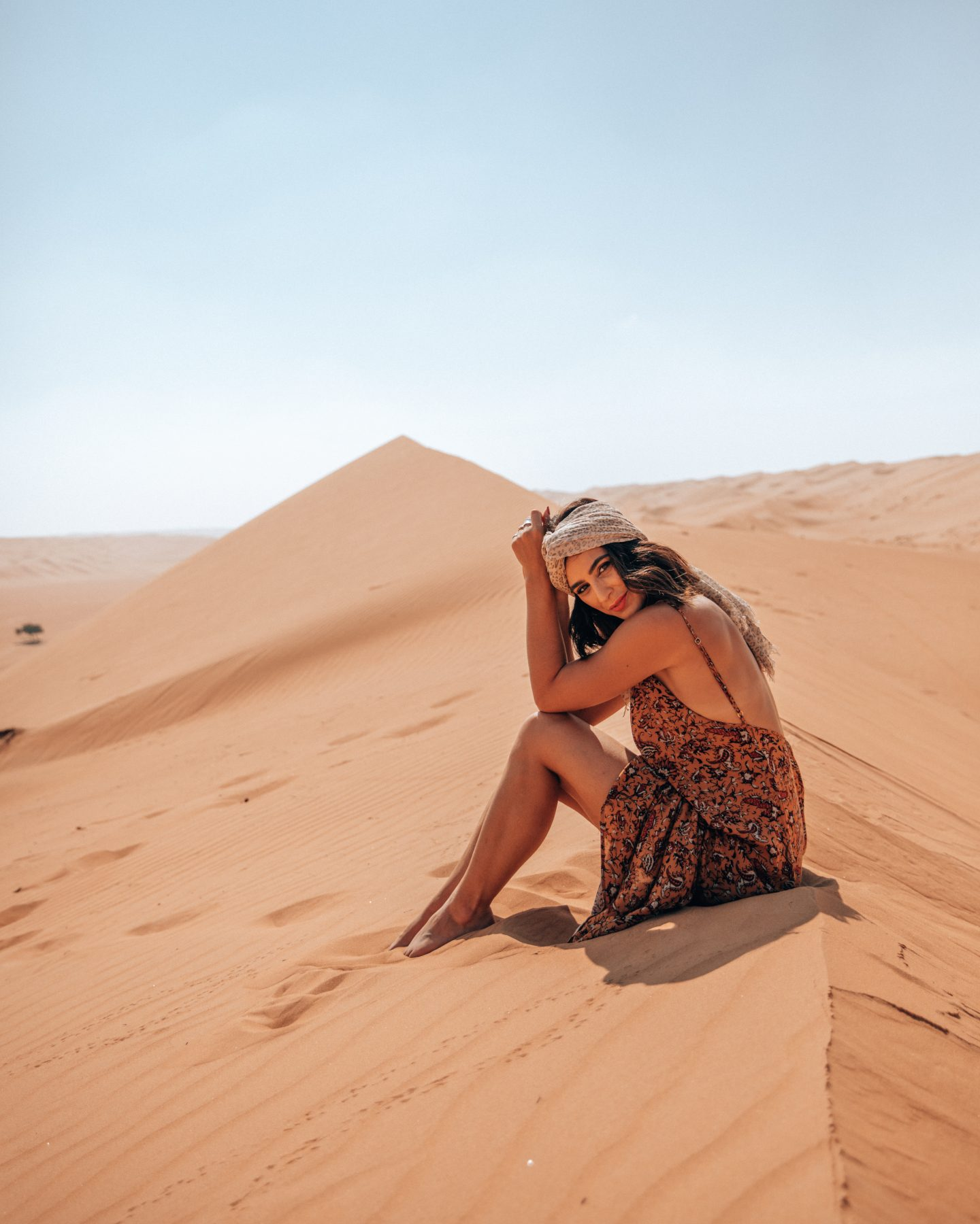 A woman in Wahiba Sands desert in Oman