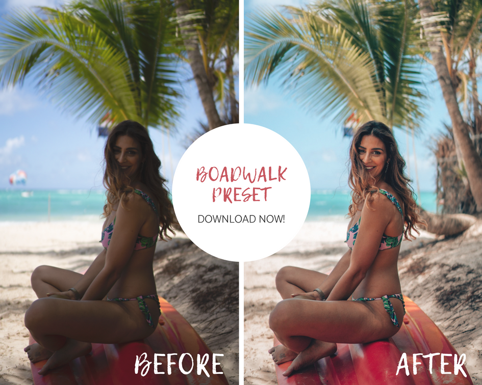 Before and after using a free Lightroom preset