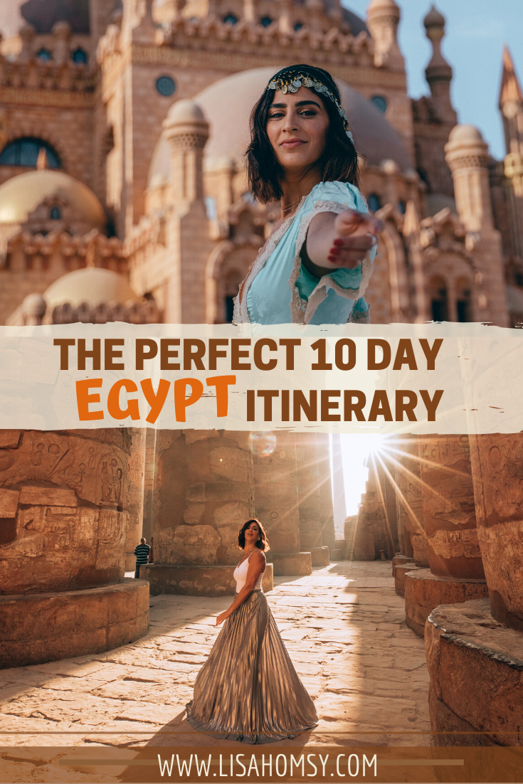 Egypt is an amazing country full of beautiful places and rich history and culture. Check out the ultimate Egypt travel guide with a full 10 day Egypt itinerary + map. #egypt #travel #travelguide | best places to visit in Egypt | Egypt travel itinerary | Egypt in 10 days | Egypt travel tips | Egypt photography | Egypt outfits | things to do in Egypt | Egyptian pyramids | Egypt temples | Egypt 10 day itinerary | Egypt travel beautiful places | what to wear in Egypt | Cairo Egypt | Luxor Egypt