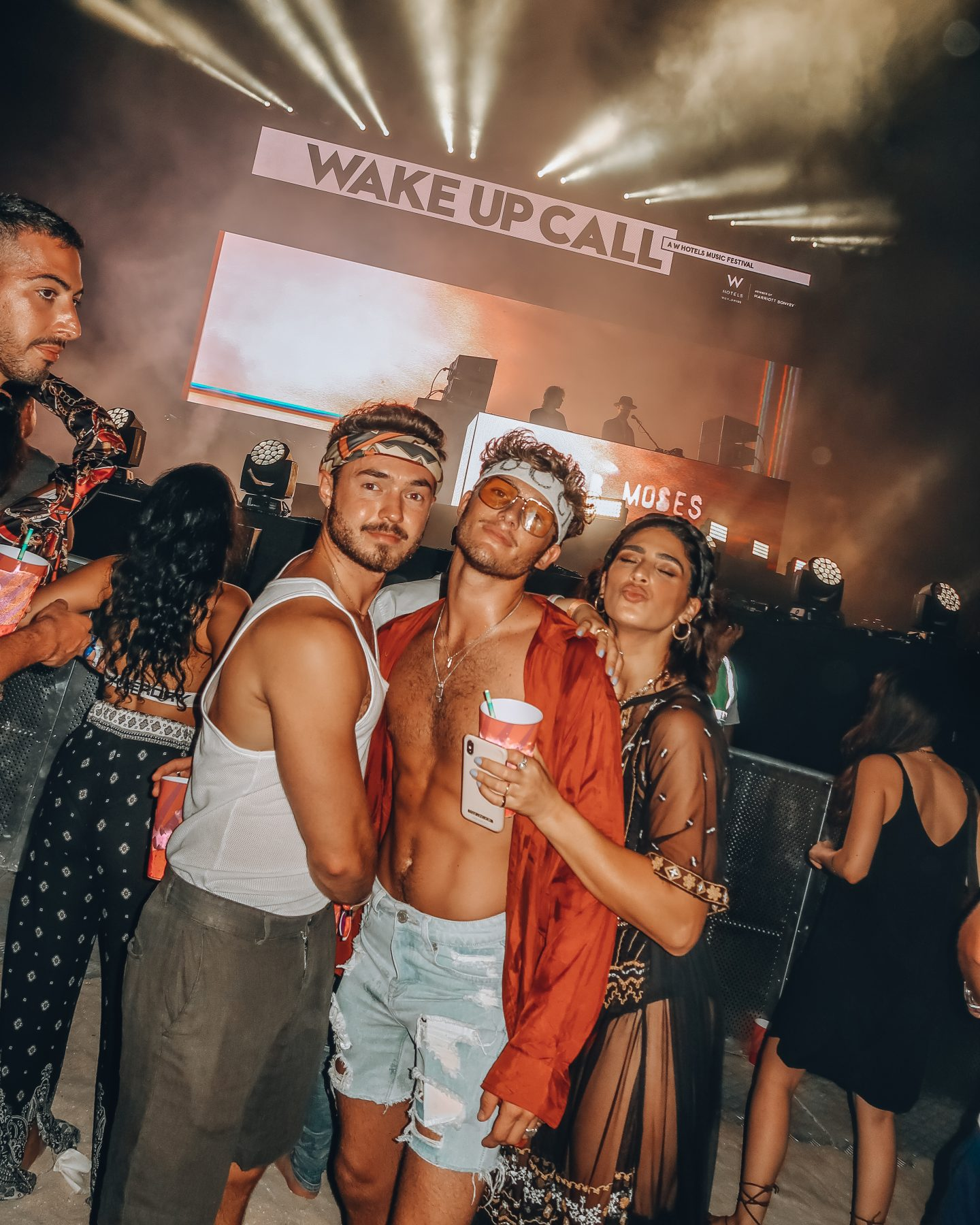 A group of friends at the Wake Up Call Festival in Dubai