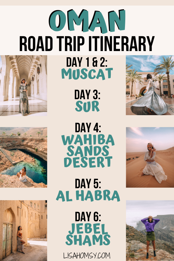 A 6 day Oman itinerary for an Oman road trip with the best things to do in Oman