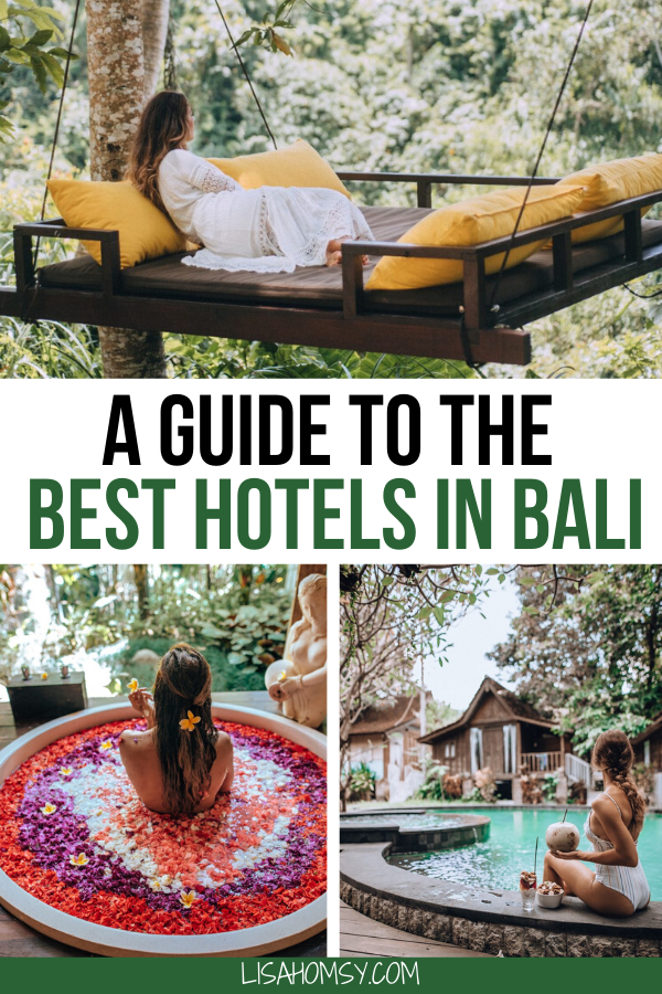 Find the best hotels in Bali here including hotels in Ubud, Canggu, Uluwatu, and Seminyak. #bali #baliresorts #ubud #canggu #uluwatu #seminyak #balihotel | best Bali resorts | best hotels in Ubud Bali | best hotels in Canggu Bali | best hotels in Uluwatu Bali | best hotels in Seminyak Bali | Bali itinerary | Bali travel guide | Bali Instagram photo spots | Ubud flower bath spa | Bali flower bath | where to stay in Bali | Bali hotels luxury | Bali Indonesia | Ubud Bali hotels | Canggu Bali hotels