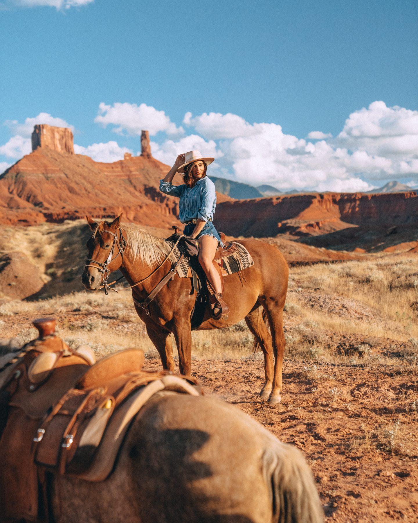 Sunset horseback ride in Moab, Utah