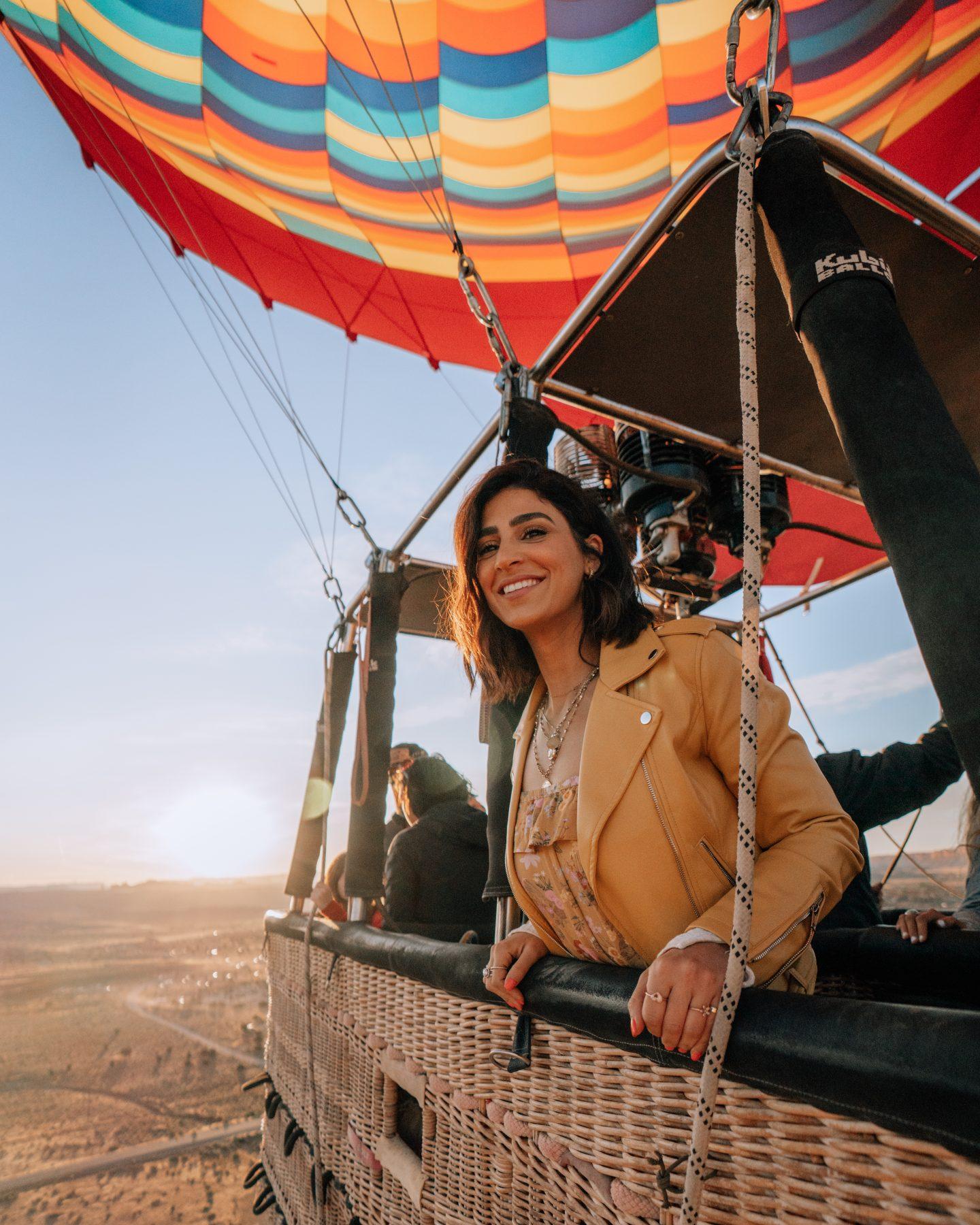 Hot air balloon ride over Moab Utah at sunrise