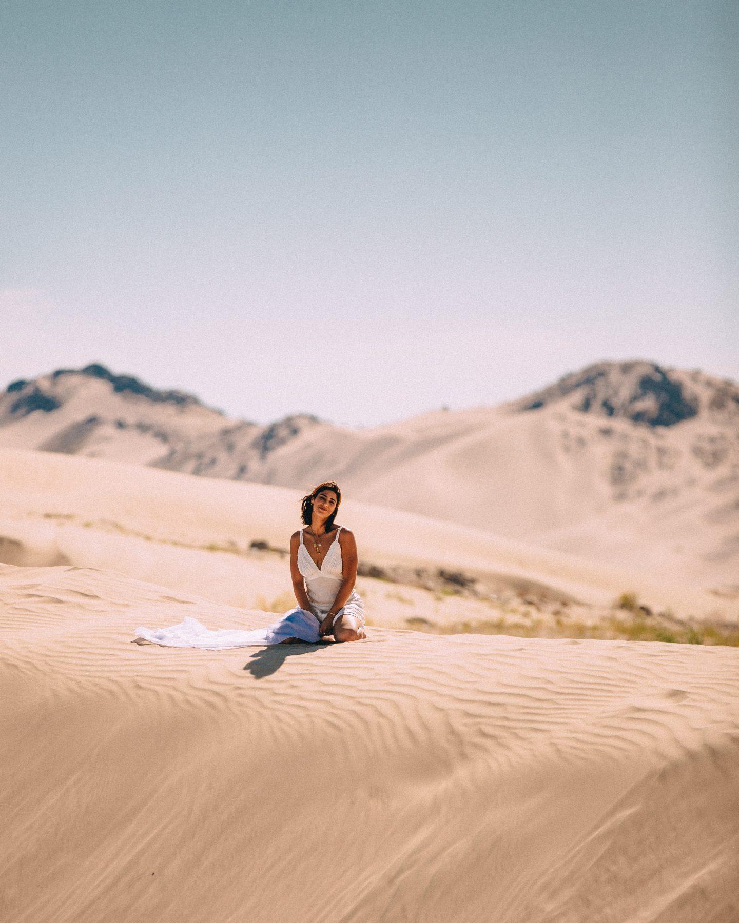 Lisa Homsy on the Little Sahara sand dunes in Utah