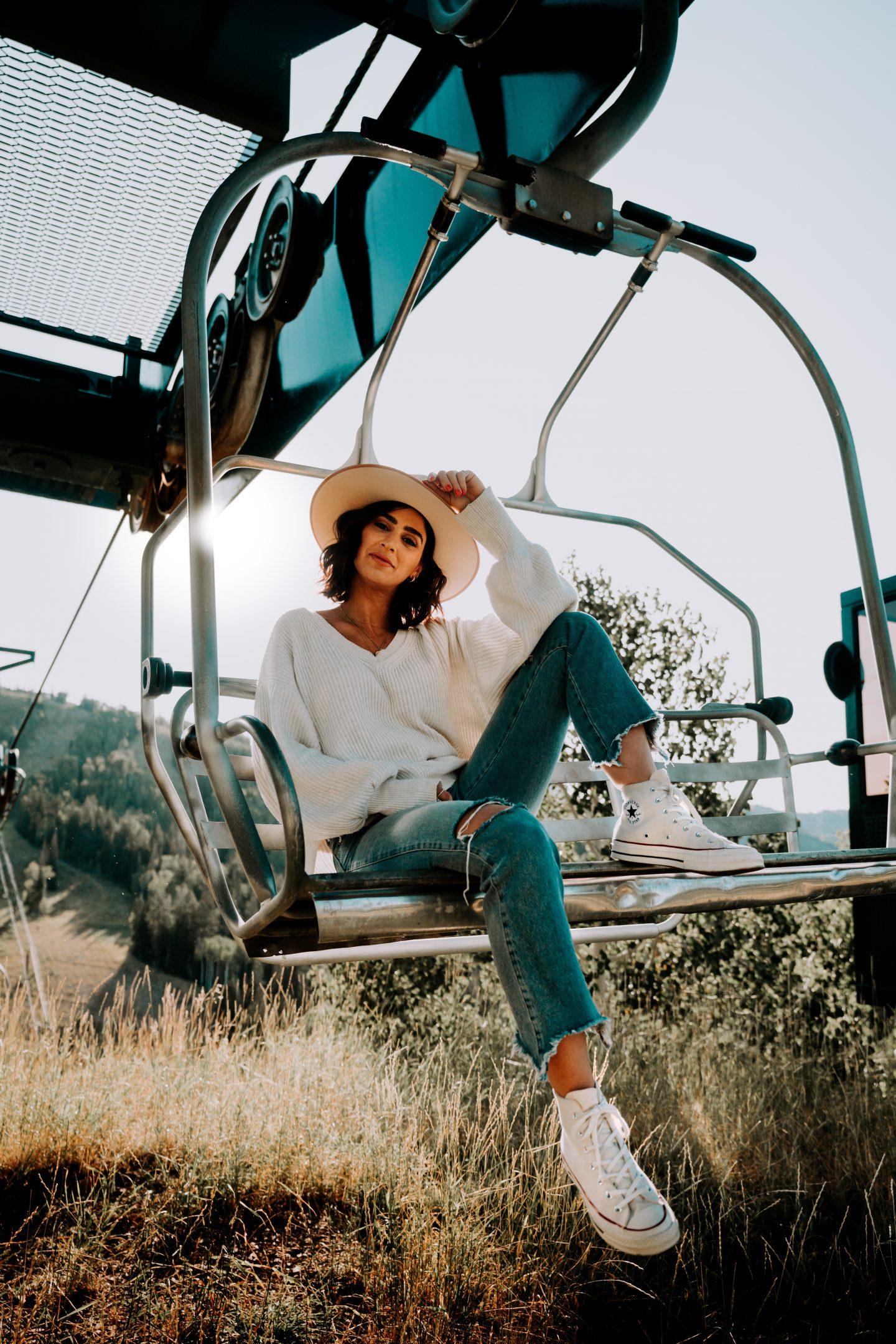 Lisa Homsy on a ski lift in Park City, Utah