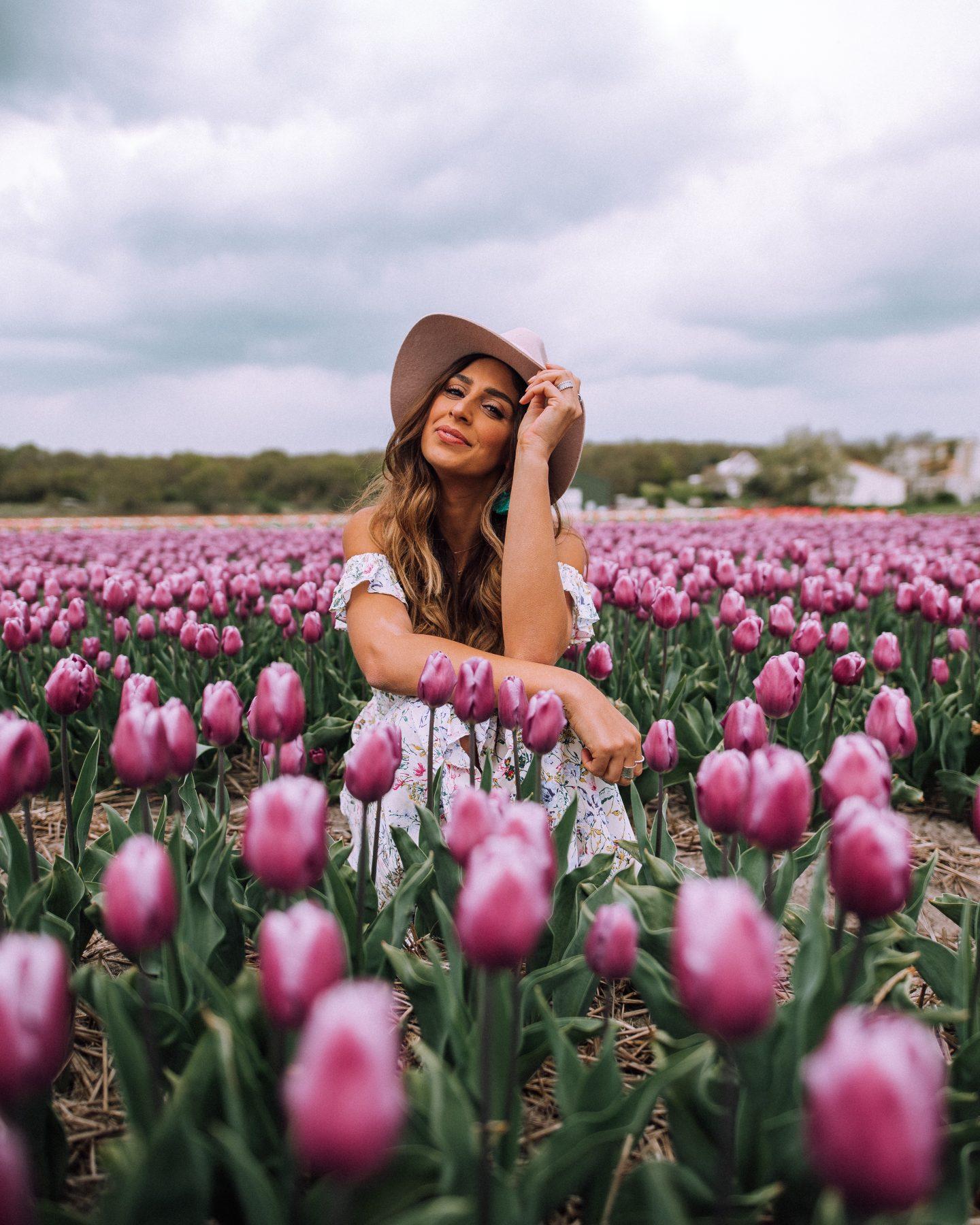 Posing in a Tulip field in the Netherlands