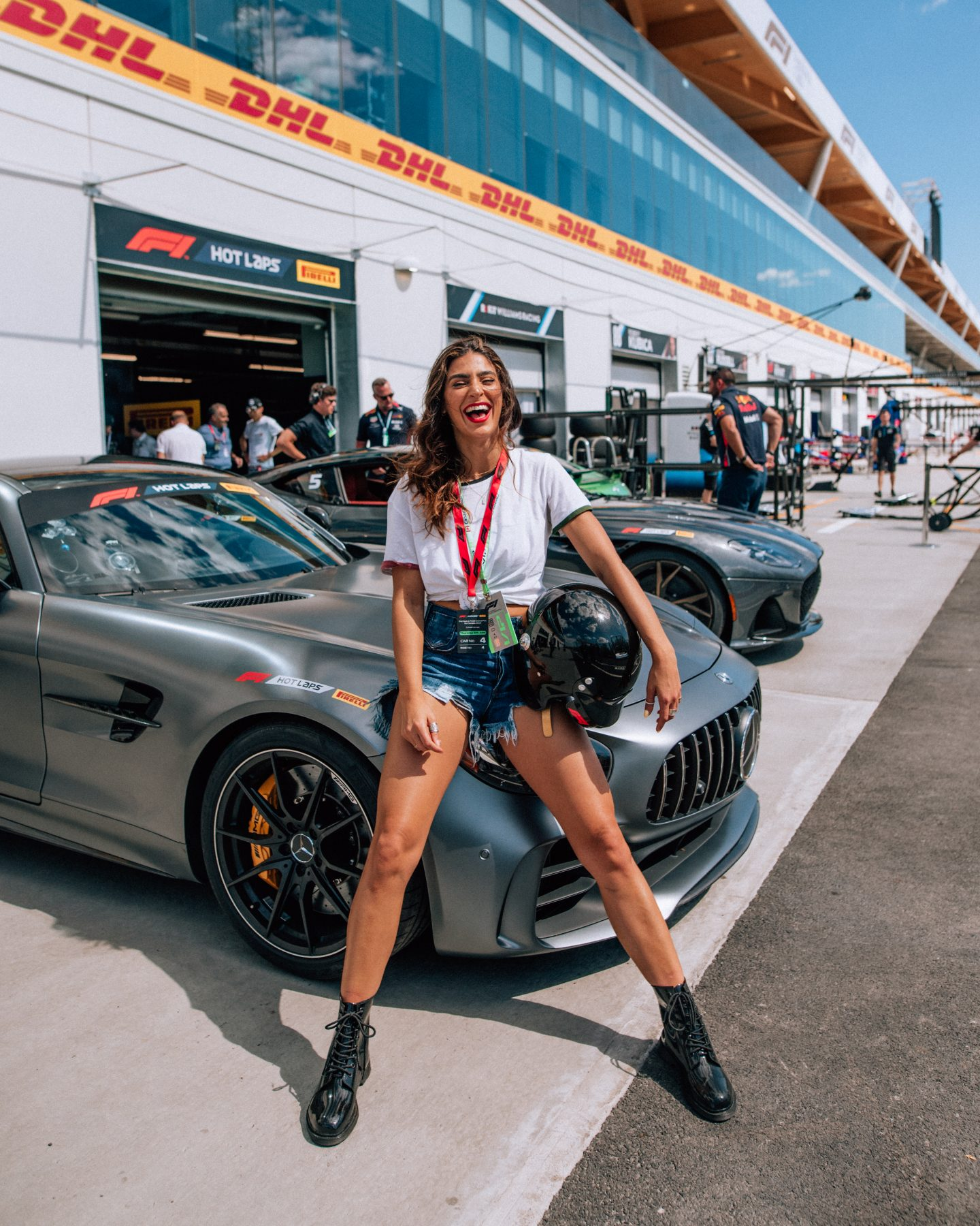 Lisa Homsy working with F1 racing on an Instagram brand collaboration at Montreal Grand Prix