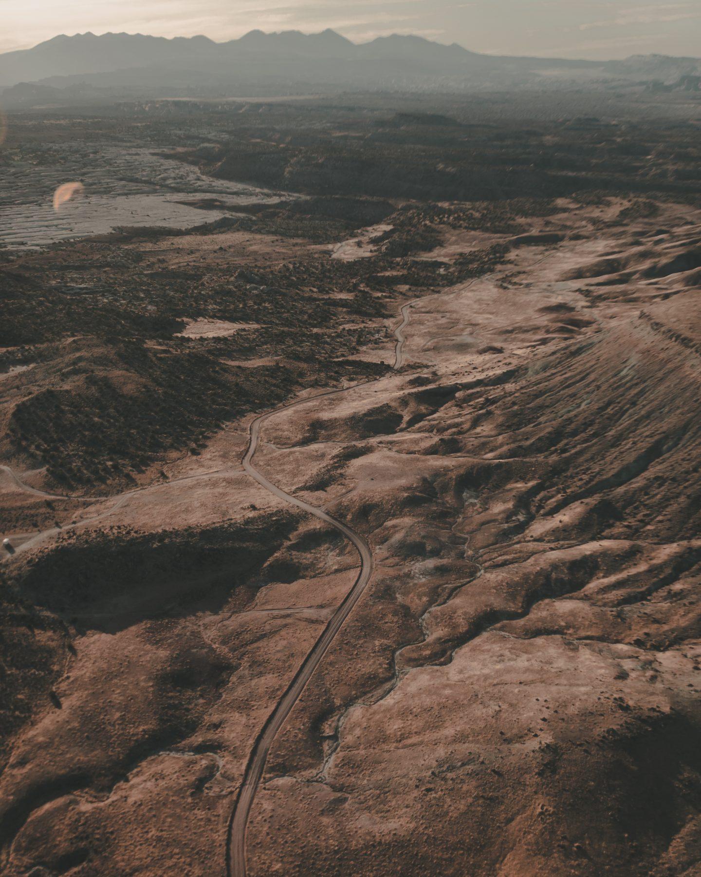 Moab Utah from a hot air balloon ride at sunrise