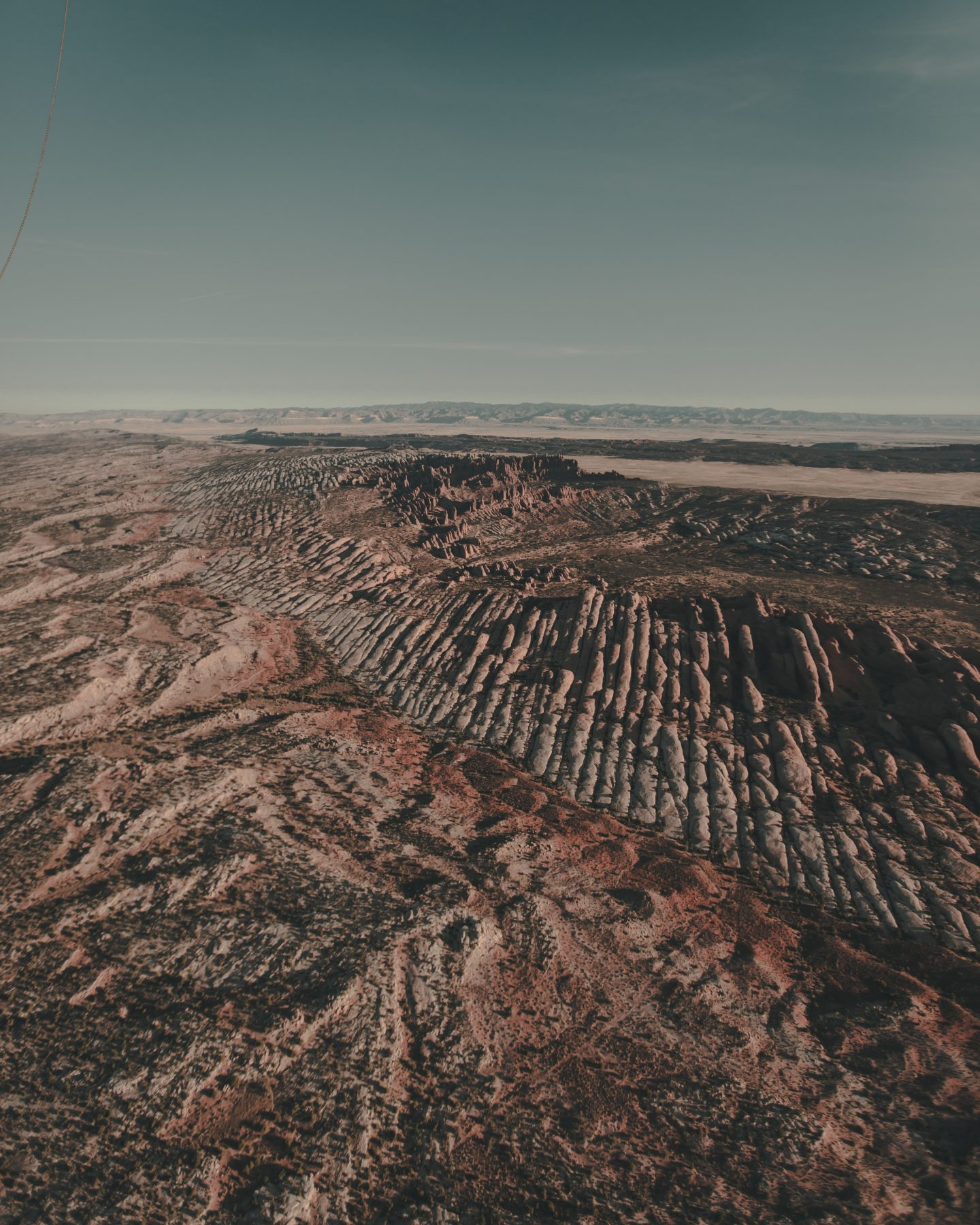 Moab Utah and Arches National Park from a hot air balloon ride at sunrise