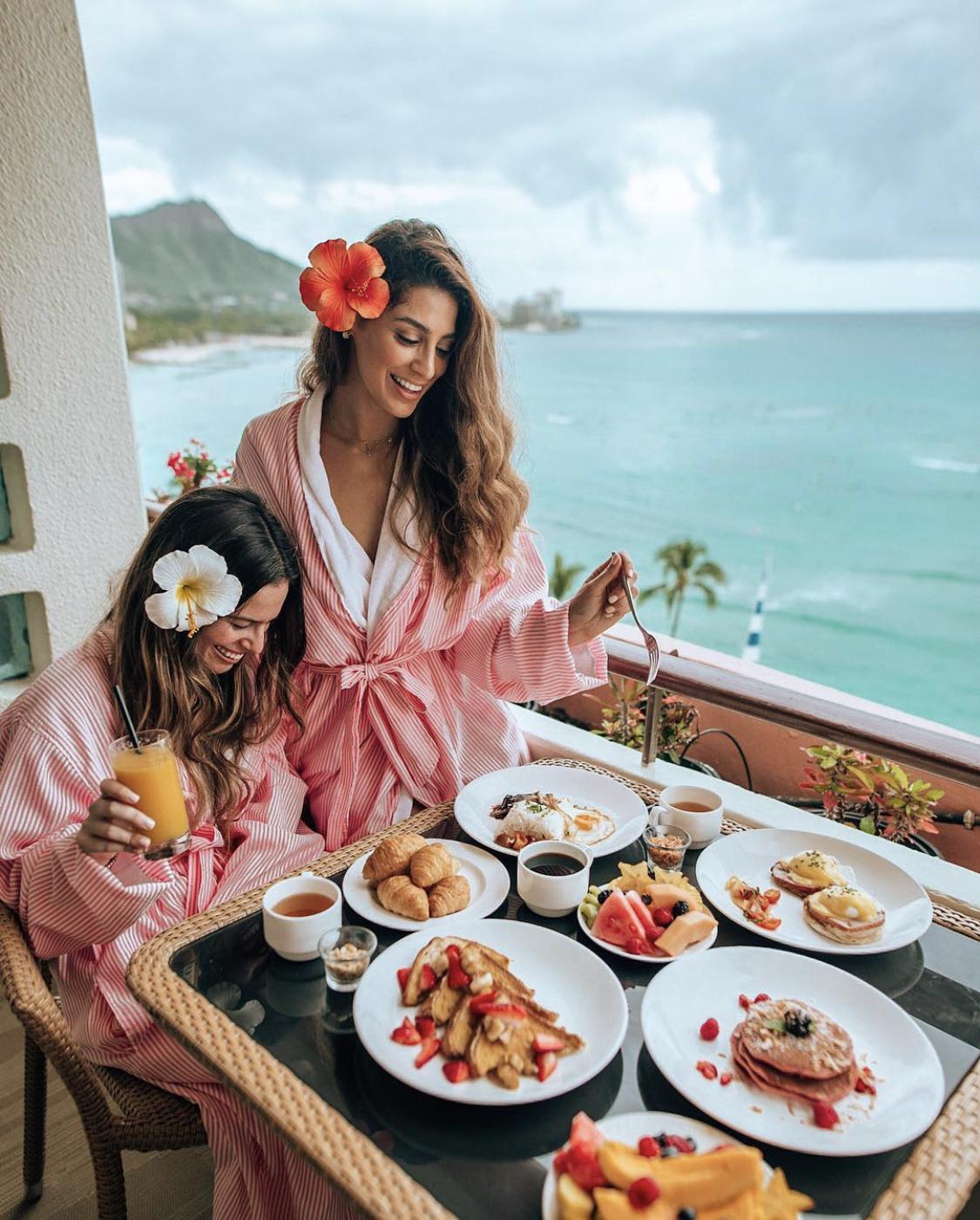Breakfast in Oahu, Hawaii on a balcony