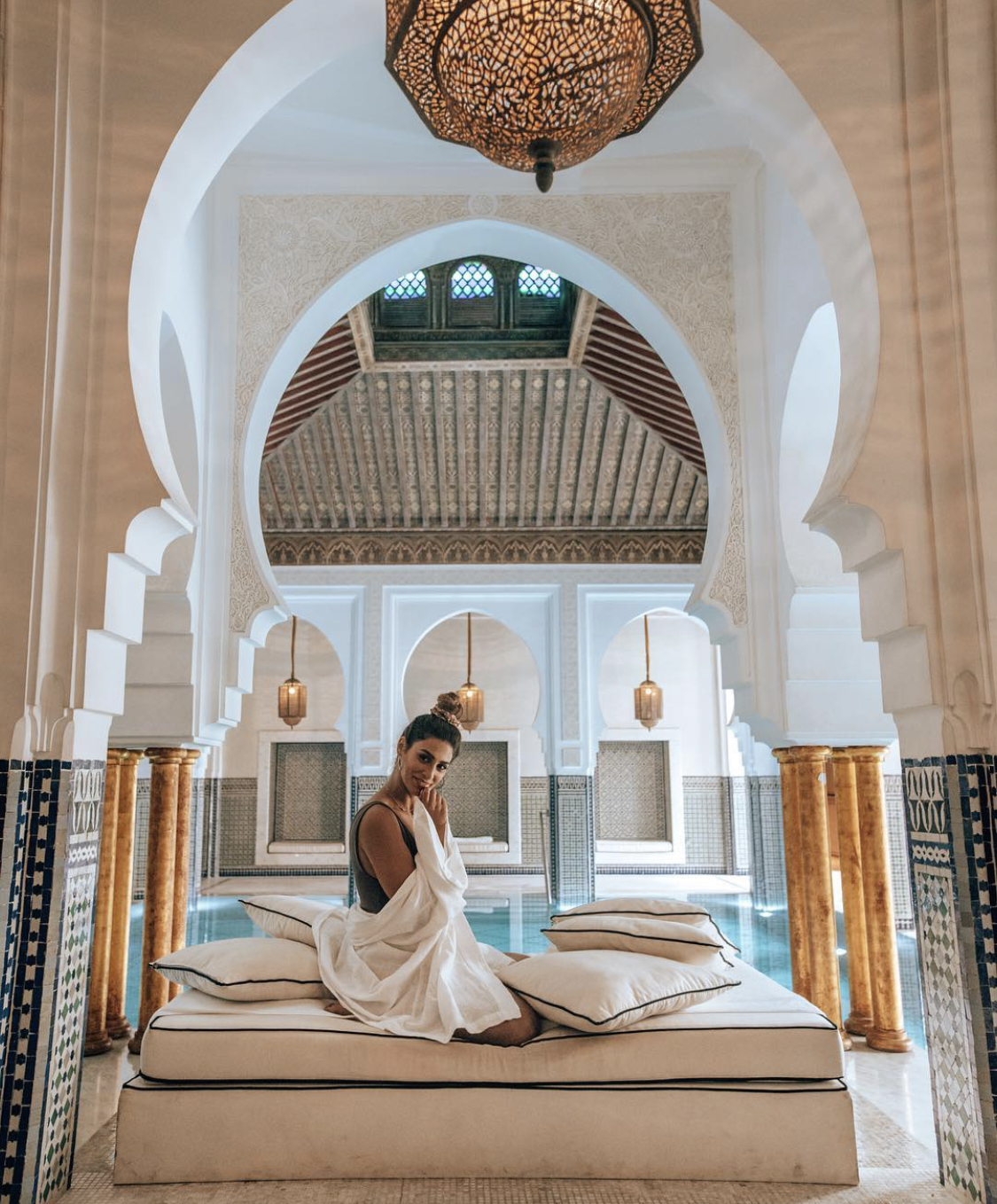 Woman in the spa at a hotel in Marrakech, Morocco