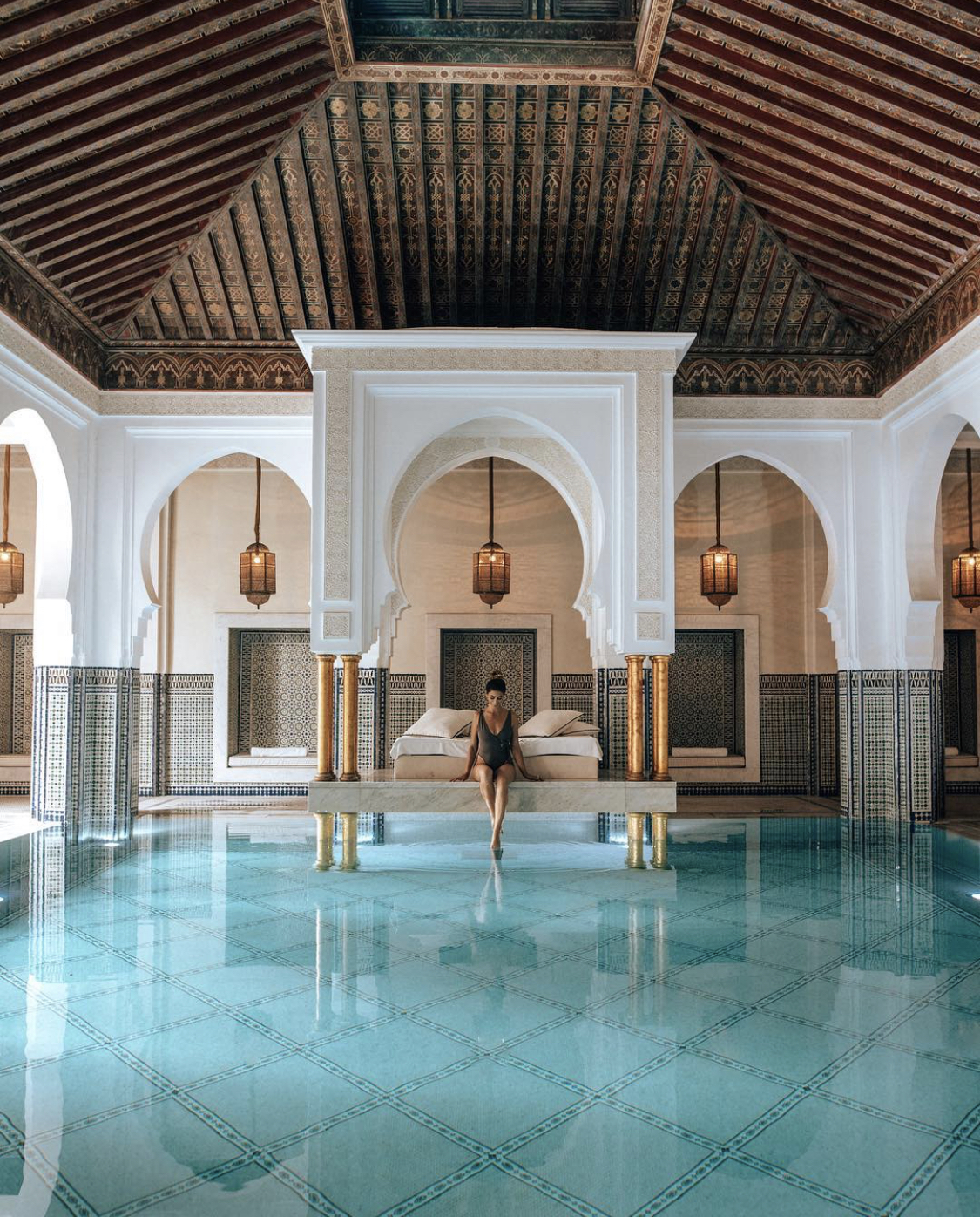 Lisa Homsy in the spa at a hotel in Marrakech Morocco