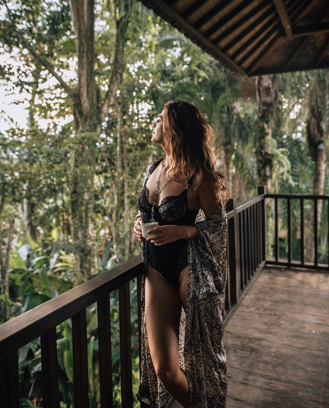 Lisa Homsy in a hotel in Bali in the morning