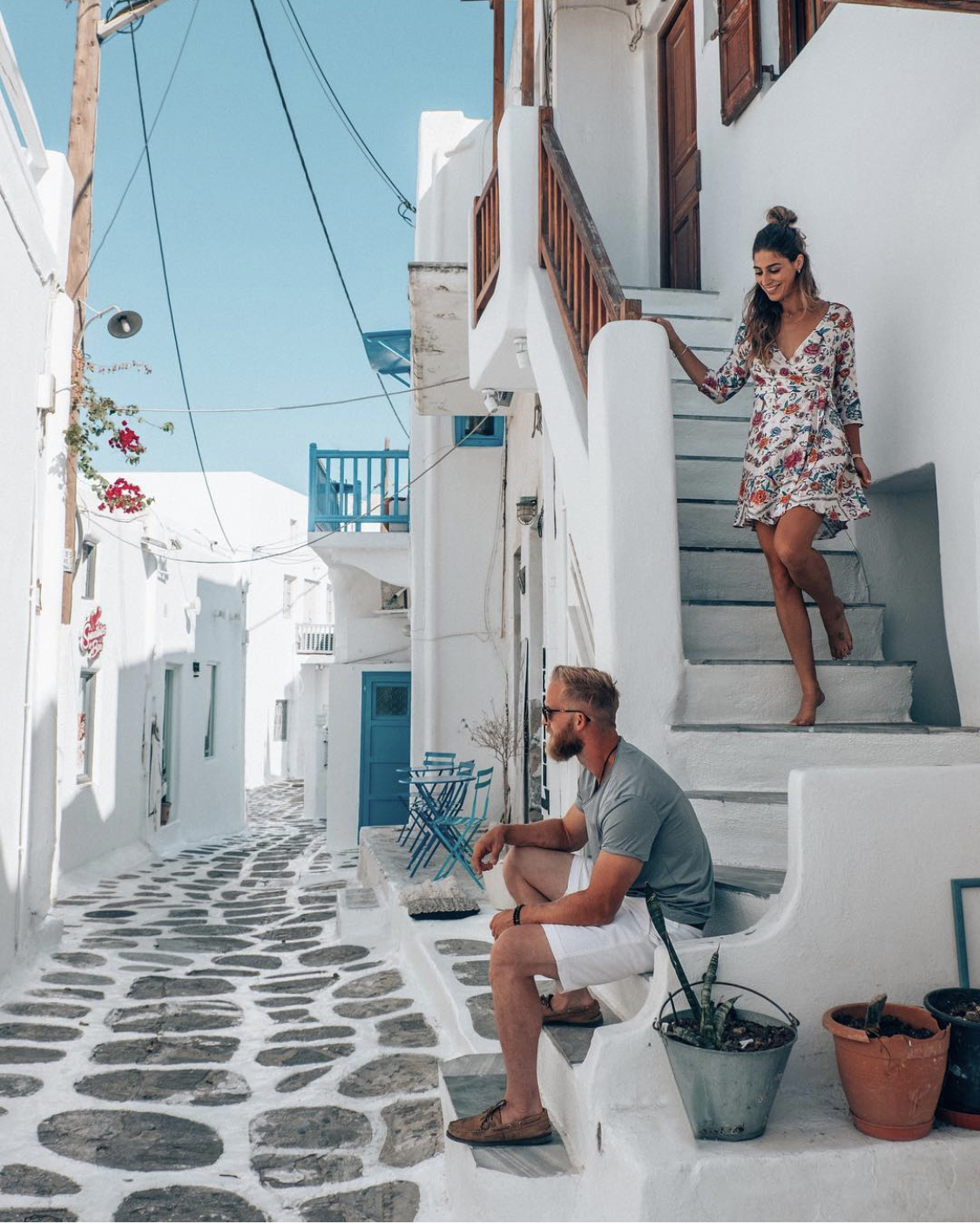 Couple on the streets of Mykonos