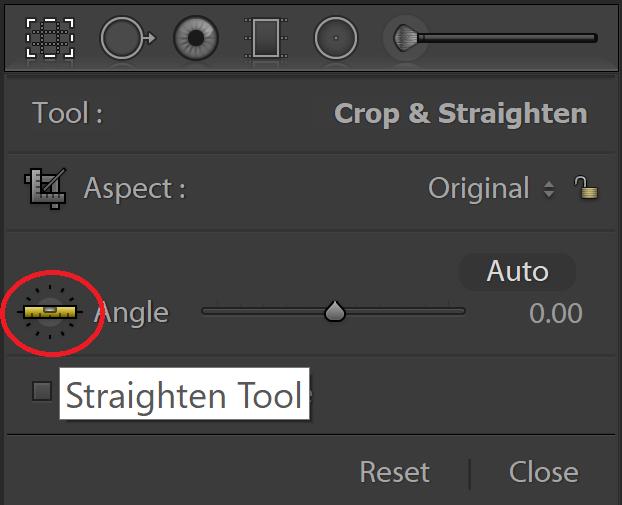 Straighten tool in Lightroom